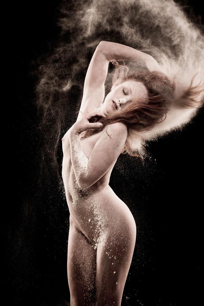 Art Nude Model Ivory Flame dances with Flour in Adrian Pini Studio Workshop
