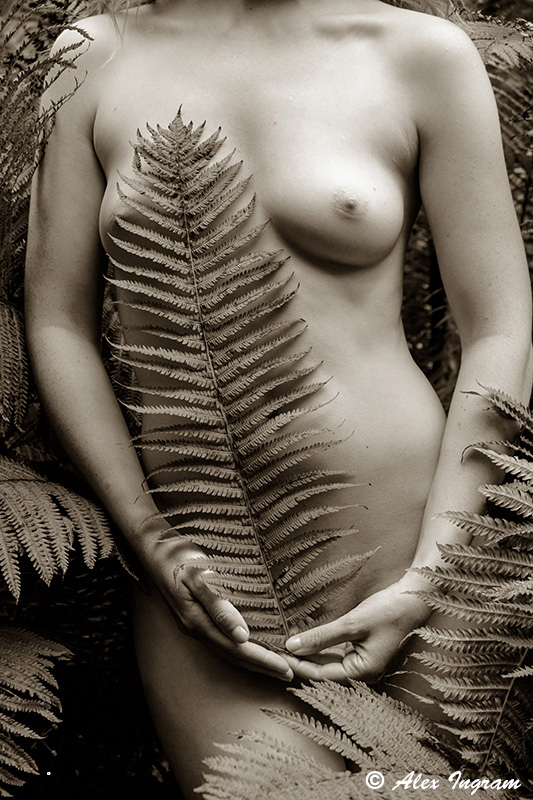 Model Ivory Flame sepia nude close up by photographer Alex Ingram
