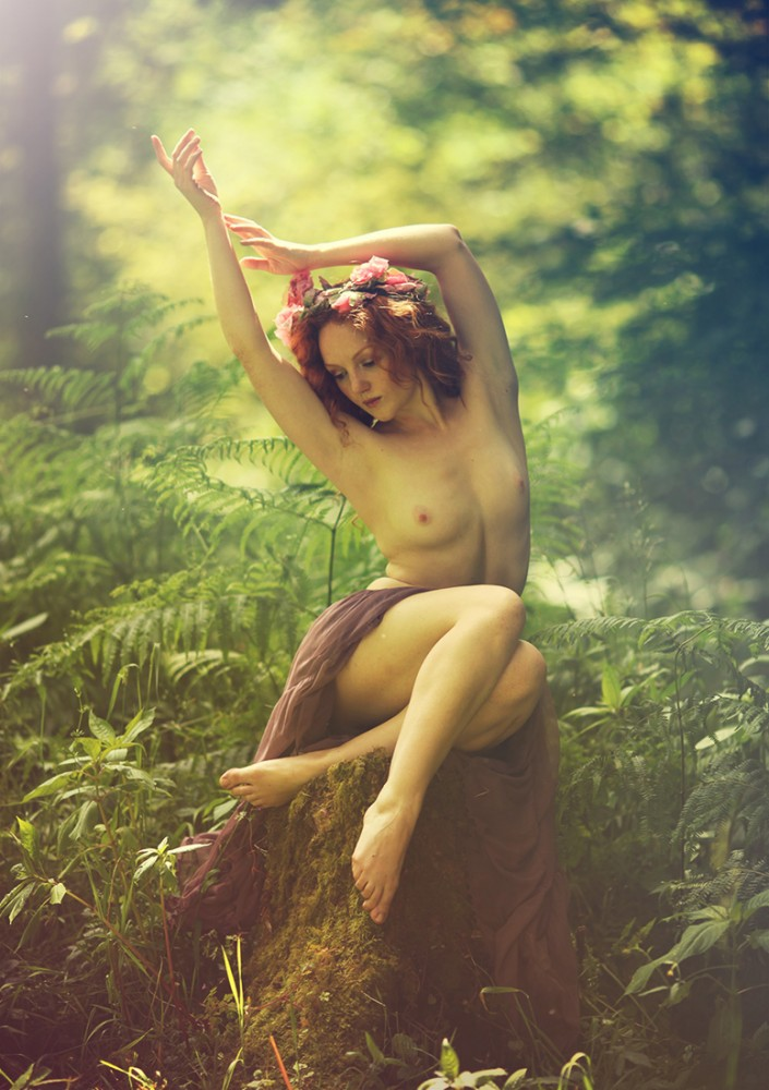 Fairy Nymph nude model Ivory Flame in the forest photographed by Derek Brewster
