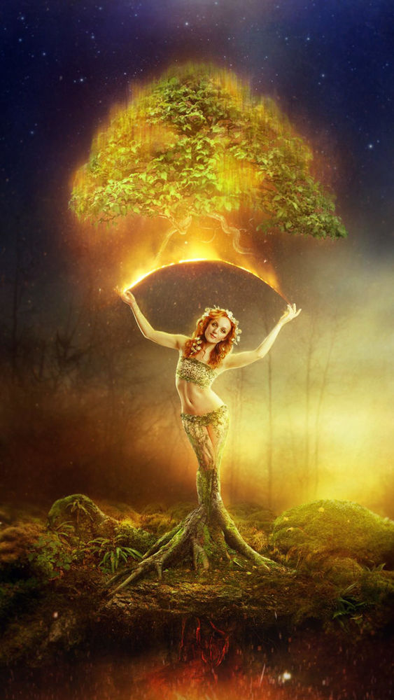 Digital art yoga series by Eithne Ni Anluain of model Ivory Flame in Vrksasana Tree of Life pose