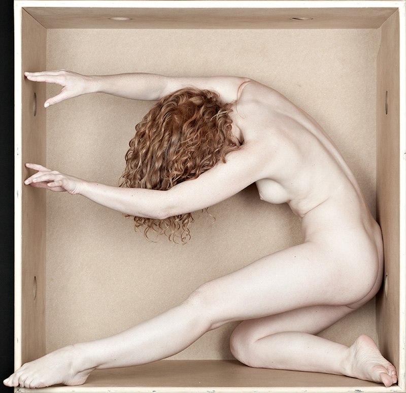 Art Nude redhead model Ivory Flame in The Box by Eric Kellerman Netherlands
