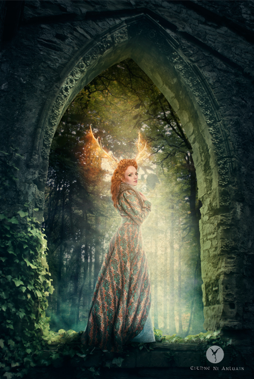 Digital art by Eithne Ni Anluain of red-haired model Ivory Flame