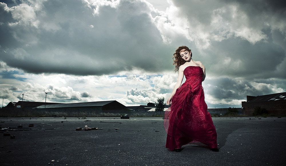 Fashion Model IVORY FLAME in The Red Dress by photographer Gareth Hickey