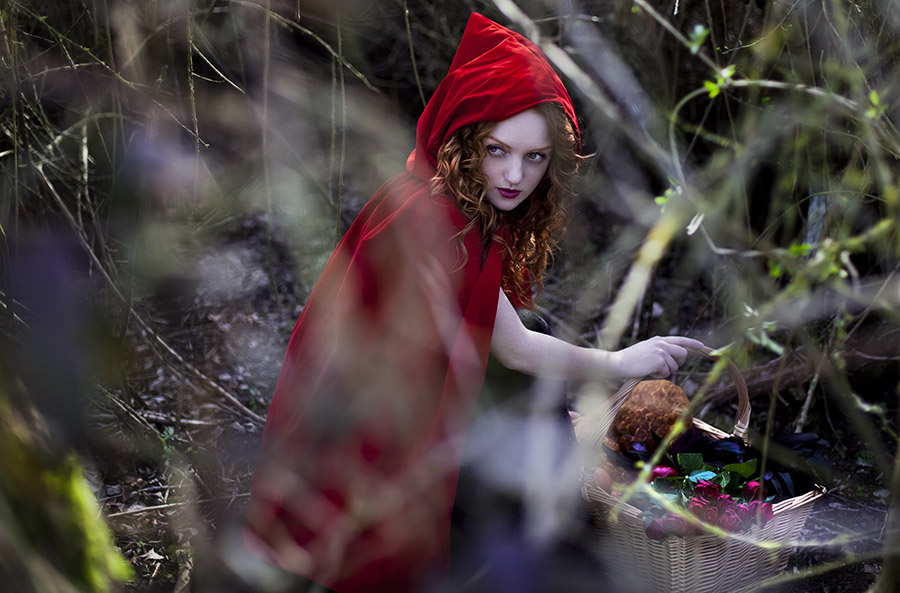 Model Ivory Flame dressed as Red Riding Hood by Raluca S Photography