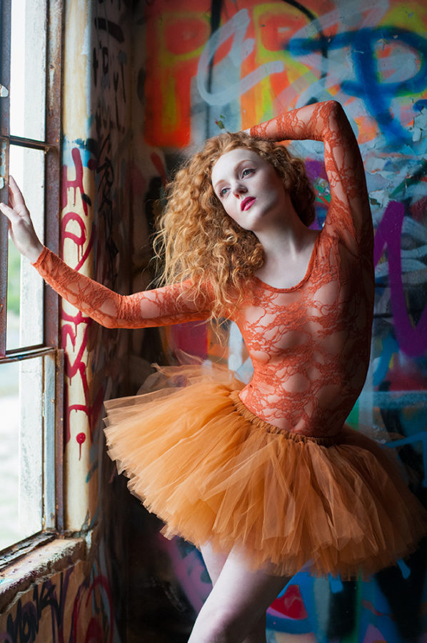 UK Professional model with pale skin IVORY FLAME in ballet tutu graffiti urbex photoshoot with Rebecca Knowles Photography