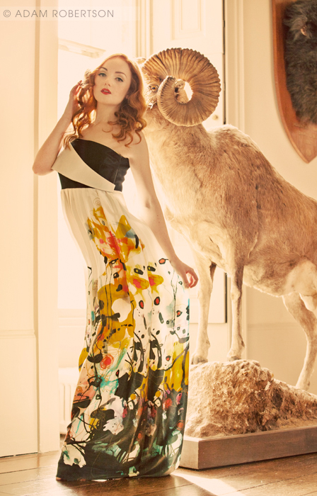 Redhead Fashion Model Ivory Flame dress gown by Adam Robertson Photography