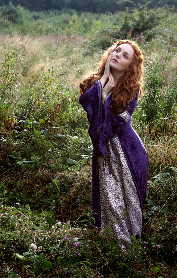 Pre-raphaelite Medieval Model with long red hair IVORY FLAME by photographer Steve M