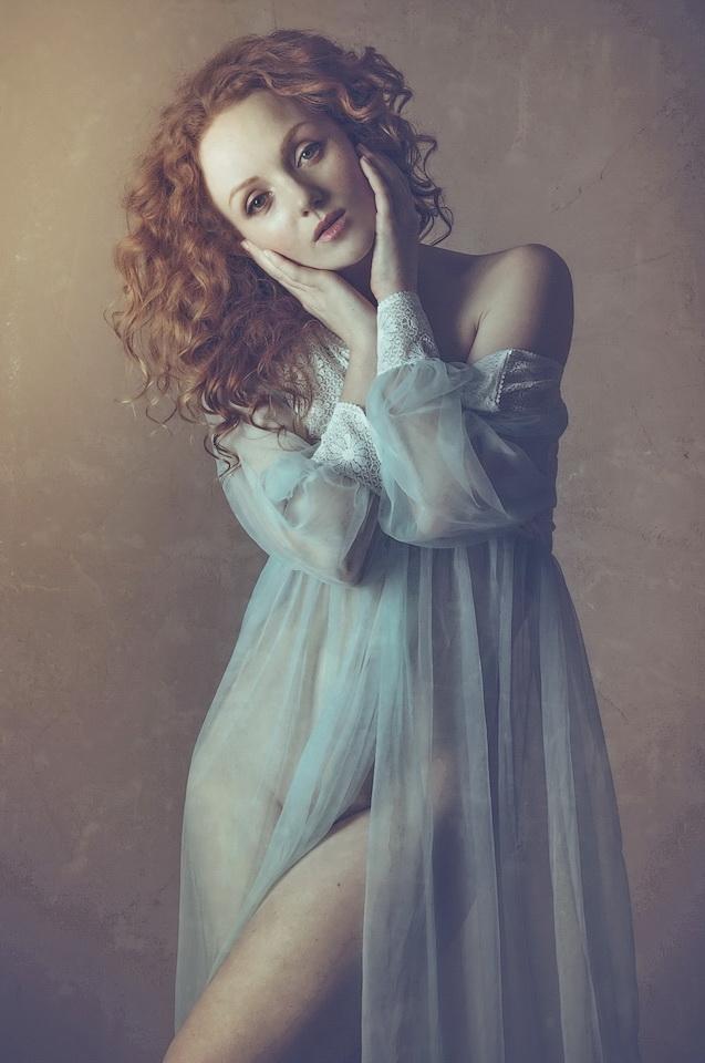 Redhead model Ivory Flame in nightdress by Karen Jones Photographer