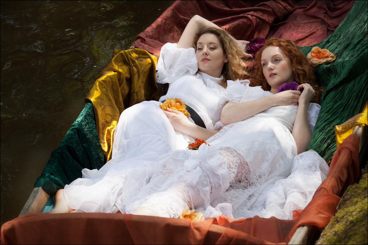 Pre-raphaelite Lady of Shallot inspired Ivory Flame & Ella Rose by photographer Keith Cooper
