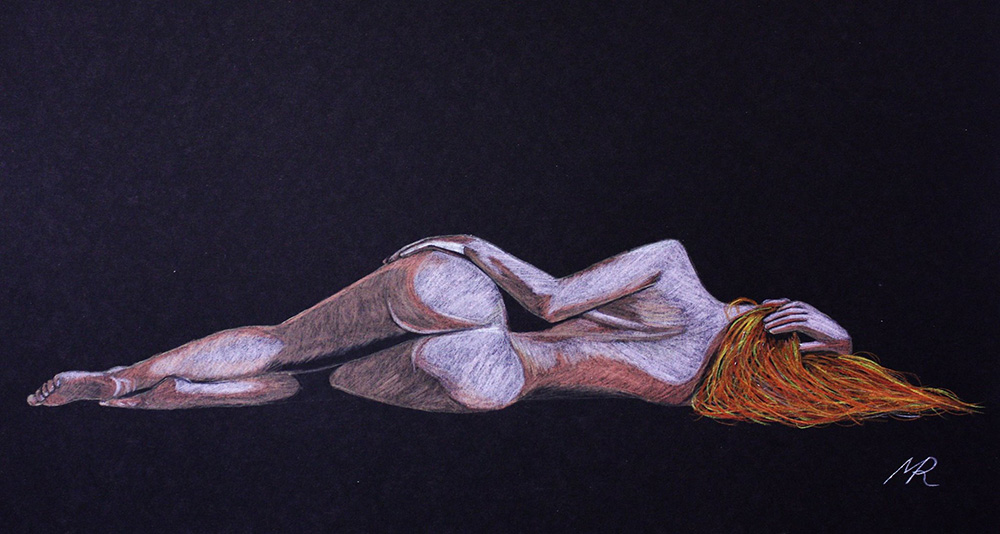 Artists nude model redhead IVORY FLAME by artist Mark Roberts Provocative Art