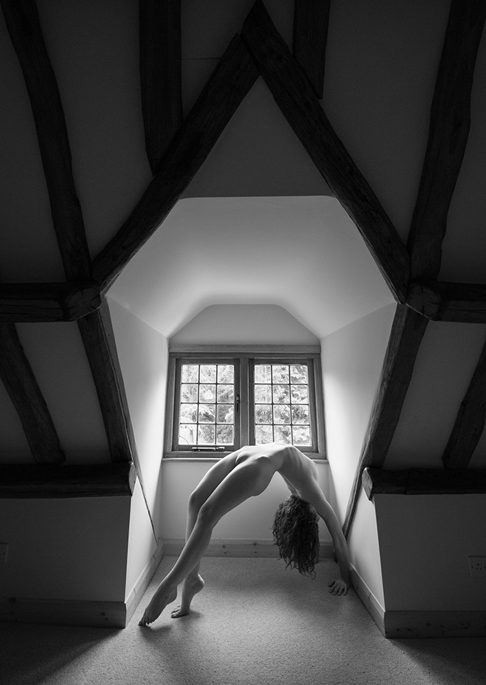 IVORY FLAME nude in window backbend by photographer Tim Pile