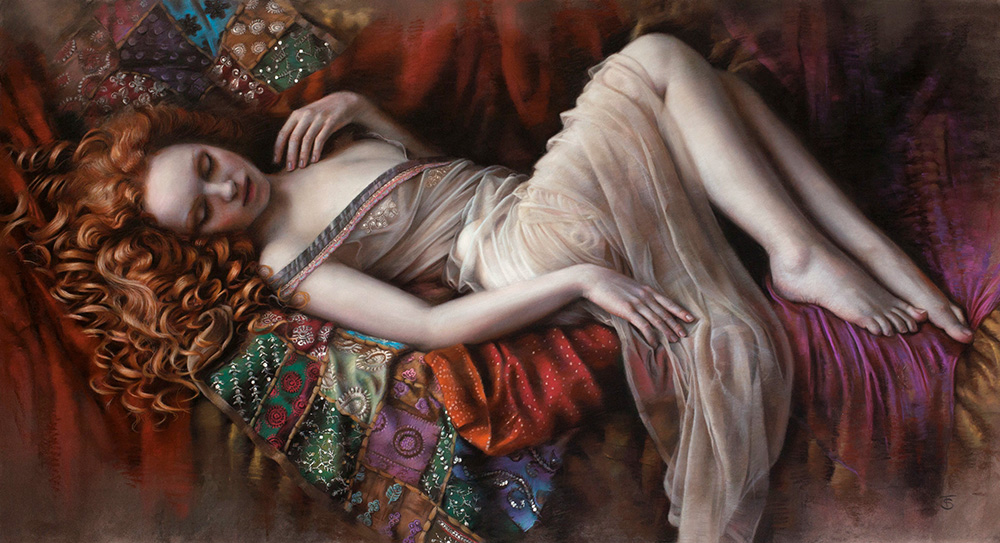 Pastel art piece by artist Tina Spratt of red-haired model Ivory Flame