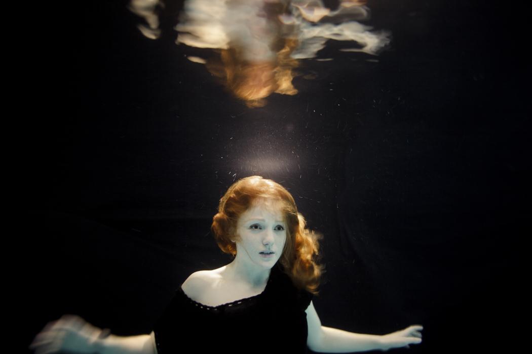 Underwater model mermaid redhead UK IVORY FLAME by Vanessa Mills Photography