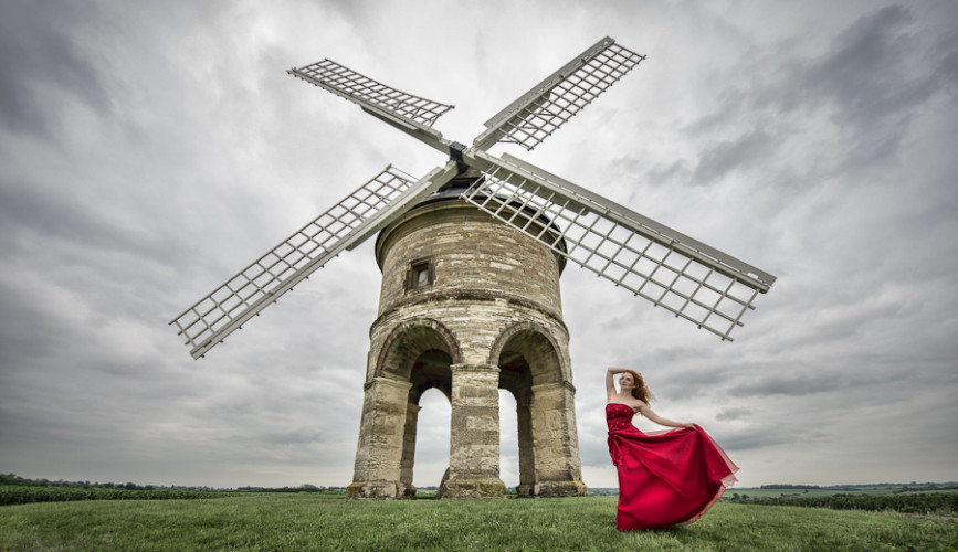 Tim Pile Ivory Flame Red Dress WIndmill