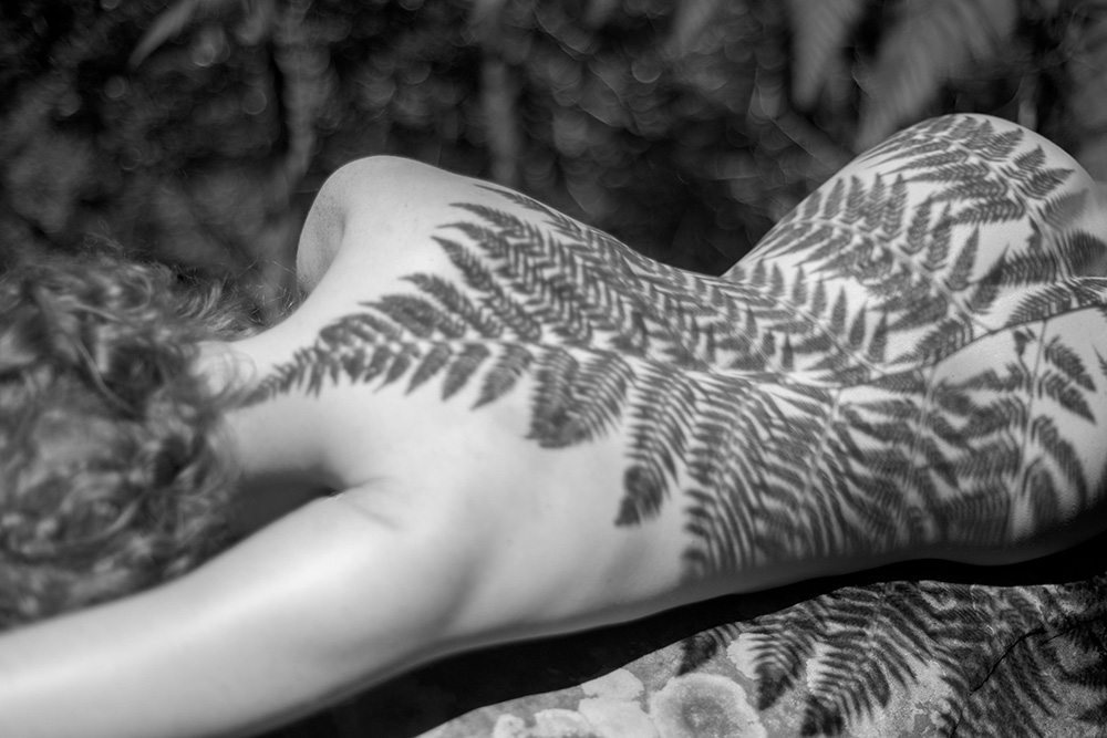 Nude Art Figure model IVORY FLAME with fern shadow by Rawgrain Photography