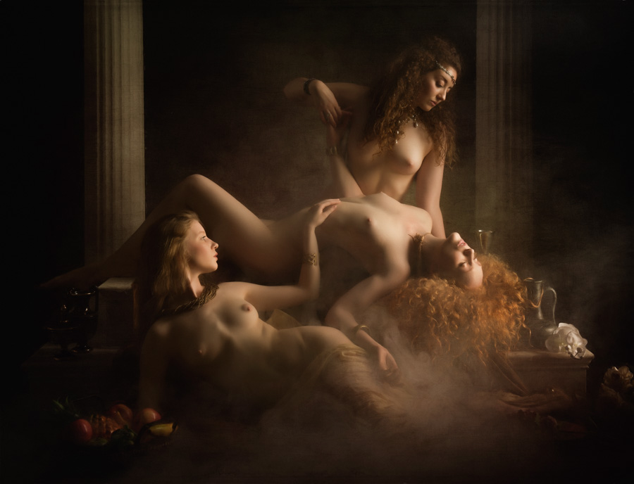 Nude Model IVORY FLAME Ella Rose & Lulu Lockhart posing for Mancave Photography, Game of Thrones, Pre-Raphaelite style
