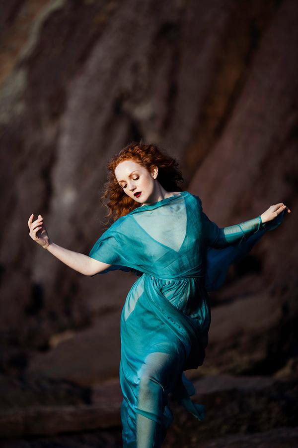 Nicole Luneberg IVORY FLAME redhead model blue dress2