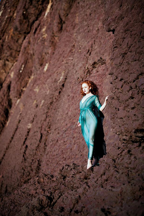 Nicole Luneberg IVORY FLAME redhead model blue dress3