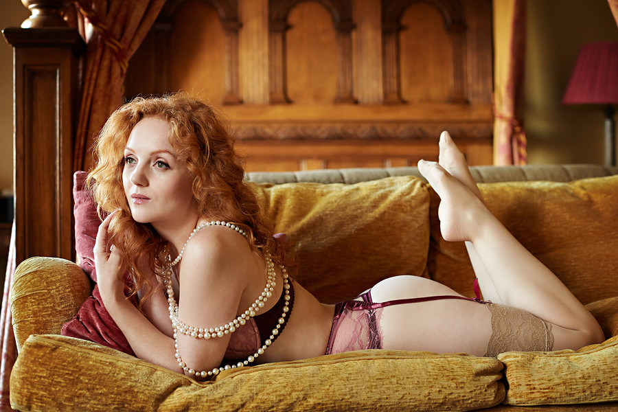 ivory flame redhead redhaired lingerie model