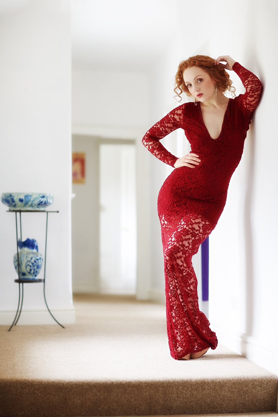 ivory flame redhead red dress