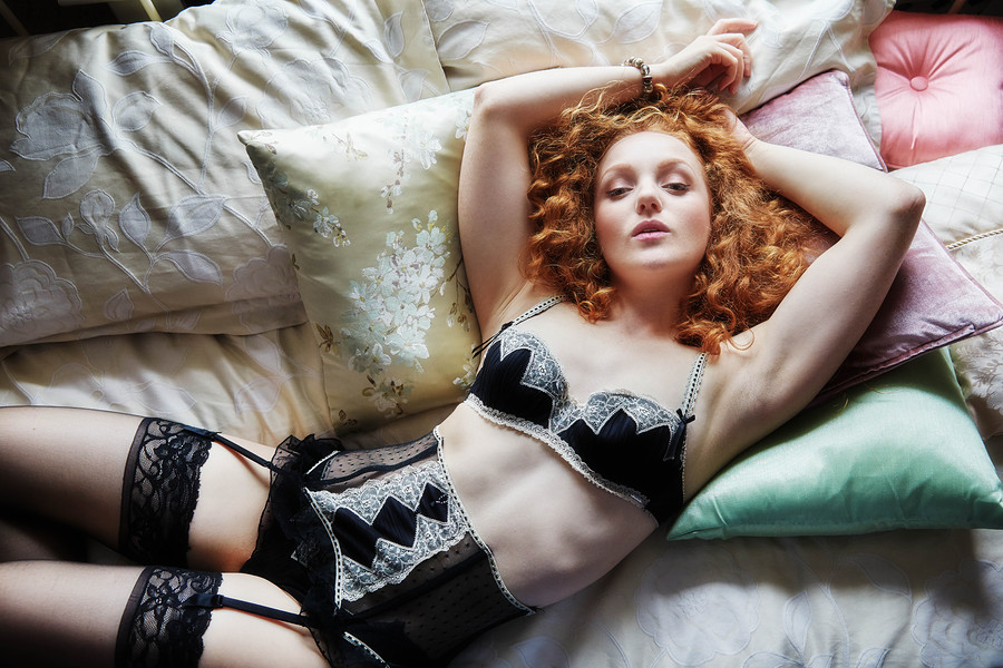 Ivory Flame lingerie redhead model