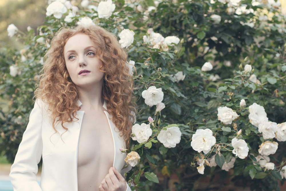 Red-haired fashion nude model IVORY FLAME