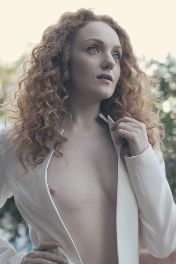 Ivory flame red-haired fashion nude model