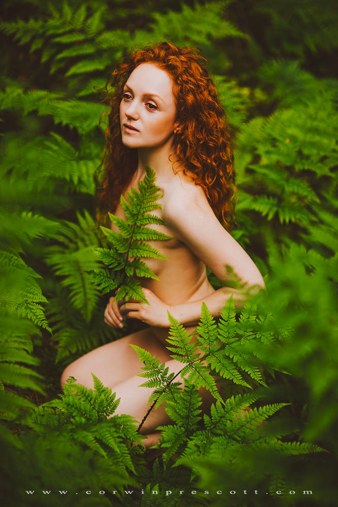 Ivory Flame Corwin Prescott Nude naked model in nature forest