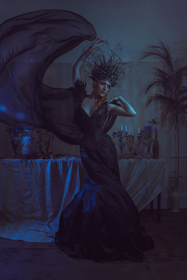 Ivory Flame by Newo Imagery Ivory Flame dark queen 900 with Wyte Phantom designs, CC Millinery, Nett Gray hair stylist, Elaine Marie MUA Time-traveller